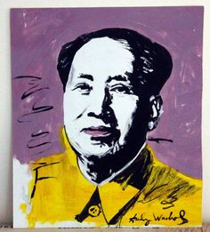 Andy Warhol Original Portrait of Chairman Mao. Ink and acrylic on paper. Hand signed  on the front and on the back of the original by Andy Warhol, the artist in the lower right corner. One of a kind original portrait. Approx  9 x 8  inches.