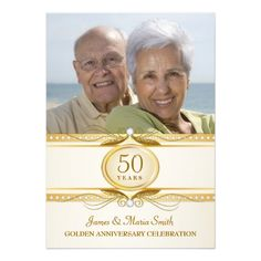 Golden 50th Wedding Anniversary Photo Invites