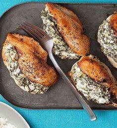 Yum! Spinach and Feta stuffed chicken.