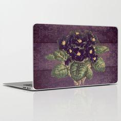 Vintage violettes on purple distressed damask laptop skin
