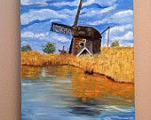 Morning Frost Large Original Oil Landscape painting is 16x20 on stretched cotton gallery wrapped 1.5 depth.  When searching painting ideas, I came across this photo of the Netherlands.  The photographer's center of interest were the windmills but for me it the slightly frozen pond!  I changed up the photo and added more pond to showcase the wonderful colors and frozen light.  I removed a little house and fencing and added some fall trees to make the painting mine.  Thanks for looking!