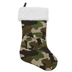 18 Army Camouflage Christmas Stocking with Pocket and White Faux Fur Cuff *** See this great product.