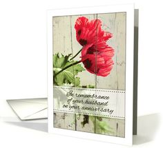 In remembrance of your husband on your anniversary - two red poppies card. Personalize any greeting card for no additional cost! Cards are shipped the Next Business Day. Product ID: 1173832 Red Poppies, Anniversary Cards, Vintage Cards, Wedding Cards, Greeting Cards, Husband, Retro, Day, Card Ideas