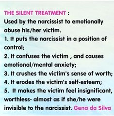 Narcissists use the SILENT TREATMENT to emotionally abuse their victims. | Narcissistic Abuse Recovery by aileen