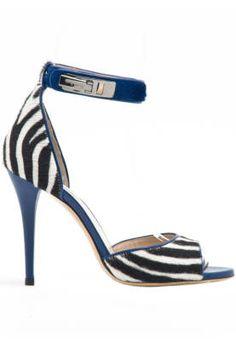 Max Mara Piovra Pony-Hair Zebra Print Ankle Strap Heels $695 Fall Winter 2014 #Shoes #Animal