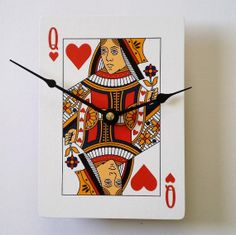 Queen of Hearts Clock Playing Cards Clock by CyberMoon on Etsy, $18.00