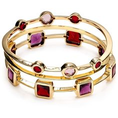Carolee Berry Chic Bangles, Set Of Three ($37) ❤ liked on Polyvore featuring jewelry, bracelets, hinged bangle, carolee, berry jewelry, bangle bracelet and bangle jewelry