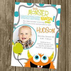 Monster Birthday Party Invitation - Photo Option by shelleyspaperstudio on Etsy https://www.etsy.com/listing/82115453/monster-birthday-party-invitation-photo