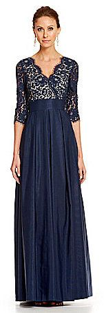 Eliza J Illusion Lace Ballgown. perfect mother of the bride dress, long sleeved, in navy or black color.