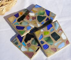 Earth Tones Glass Mosaic Coasters  Beach Glass by breakitupdesigns