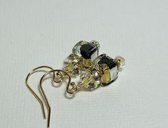 Venetian Glass Earrings. Black and Gold by VickieJoesJewels