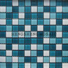 carrelage verre mosaique douche salle de bain gloss bleu