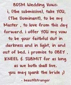 bdsm wedding vows