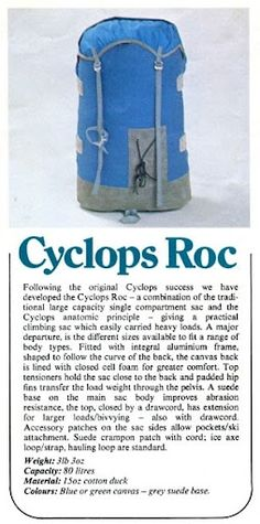 The original Cyclops Roc by Berghaus. Around about 1972 I think. Cyclops, Backpacker, Bergen, Camping, The Originals, Outdoor, Vintage, Design, Anatomy