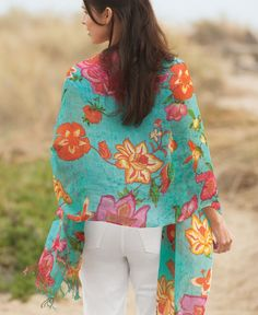 Splashy Cool Linen Shawl: Airy, crisp, and weightless, this tropical-flower shawl is long enough to wear as a wrap, also wide enough to tuck around your waist at the beach and wear as a sarong. In short, a splashy summer statement and a perfect reason to celebrate this season's pleasures in and out of the sun. Only low-impact eco dyes are used.