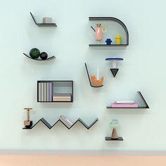 New Furniture Design Living Room Shelves Ideas Memphis Design, Living Room Shelves, Wall Shelves, Wall Racks, Plafond Design, Deco Retro, Modular Shelving, Interior Minimalista, Deco Design