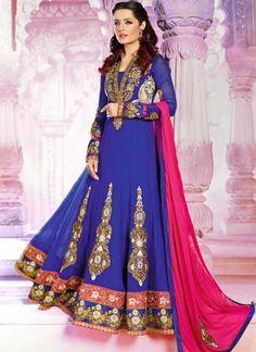 Celina Jaitley In Blue Pure Georgette Long Party Wear Anarkali Suit http://www.angelnx.com/Salwar-Kameez/Bollywood-Salwar