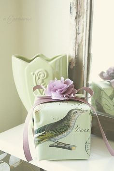 Spring Gift Wrapping color palette  #giftwrap #green #lavender!!! Bebe'!!! Perfect For A Spring Or Easter Gift!!!