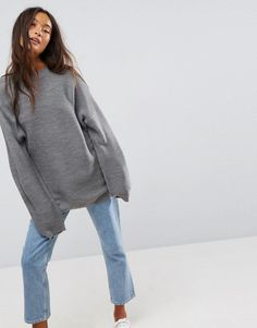 ASOS Sweater in Oversized Ripple - Gray
