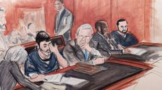 """Ayer Viernes, 18/Nov/2016 el #Jurado de la #CorteFederal Sur de #NewYork declaro #Culpables a los #Sobrinos de Nicolás Maduro de #Conspirar para ingresar #DrogasIlicitas a #USA una Ilustración de #AudienciaJudicial de """"los #Narcosobrinos"""" en #Manhattan #EEUU de #Norteamérica de la #AgenciaDeNoticias #AP"""