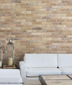Brick by Rondine Bristol Cream Richmond Melbourne, Cream Living Rooms, Style Tile, Brick Wall, Bristol, Bad, Tile Floor, Love Seat, Tiles