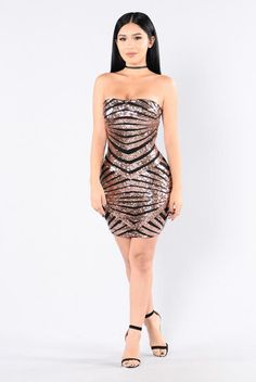 Get Your Groove On Dress - Rose Gold