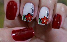 Resultado de imagen de unhas francesinha decoradas de oncinhas 2016 passo a passo Beautiful Nail Designs, Cute Nail Designs, Mani Pedi, Manicure And Pedicure, Pedicures, Red Nails, Hair And Nails, Spring Nail Art, Flower Nails