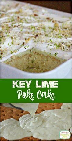 For a taste of the Florida Keys try this Key Lime Poke Cake filled with the bright flavor if lime juice and topped with whipped cream and lime zest. Key Lime Desserts, Köstliche Desserts, Delicious Desserts, Dessert Recipes, Lemon Desserts, Yummy Food, Poke Cake Recipes, Homemade Cake Recipes, Poke Cakes