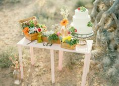 Cake Table at Boho Desert Wedding Styled Shoot | Floral by I Do Wedding Flowers Las Vegas, Cake by Retro Bakery | Styling and Photography by Gaby J Photography
