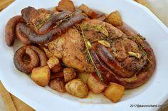 Muschiulet de porc simplu la cuptor | Savori Urbane Romanian Food, Pork Recipes, Pot Roast, Sausage, Dishes, Meat, Chicken, Ethnic Recipes, Martha Stewart