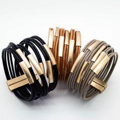 Multi bar leather bracelet