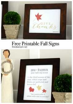FREE Printable Fall Signs.  A great addition to your fall decor or your fall mantle! | theidearoom.net: