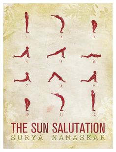 More on Sun Salutations... There are variations of Sun Salutations. Personally, I like when Downward Dog comes right after the lunge. And when there are two Down Dogs in one Sun Salutation. They're my favorite part.  You begin in Mountain Pose (1) breathing in. When you get to Forward Fold (3), breathe out. Breathe in during your lunge (4).   Your breathing will continue to alternate with each different pose. You should end up back in Mountain Pose breathing in.