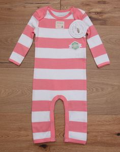 Burt's Bees Baby Girl Non Footed Coverall ~ Pink & White Stripes ~Organic Cotton #BurtsBeesBaby #BabyGirl #Coverall #OrganicCotton
