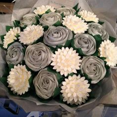 The Strand Cakery Cornwall UK Silver Wedding Cupcake Centerpiece Bouquet Edible Flowers Silver Grey Buttercream
