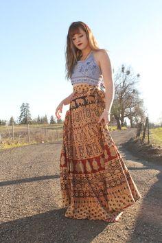 70 Vintage Boho Animal Print Indian Cotton Wrap Skirt