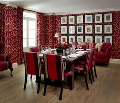 Red color Very Suitable For Dining Room: Red Private Dining Room Interior Design Covent Garden Hotel London UK Private Dining Room, Dining Room Walls, Dining Room Design, Dining Area, Beautiful Dining Rooms, Cafe Interior, Room Interior, Classic Interior, Wooden Dining Tables