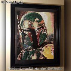 Framed Star Wars Boba Fett perler beads by mini_minako