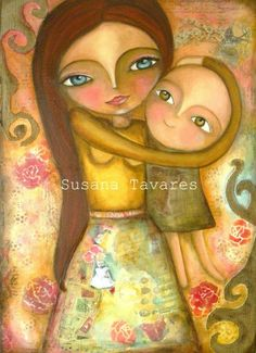 Mother and chil art print mixed media art collage by SusanaTavares, $15.00