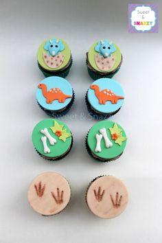 Dinosaur Cupcakes - dinosaur themed cupcakes - baby triceratops cupcakes by… Dinosaur Cupcake Toppers, Dinosaur Cookies, Dinosaur Birthday Cakes, Jungle Theme Birthday, Dinosaur Cake, Cool Birthday Cakes, Dinosaur Party, Birthday Cupcakes, Happy Birthday