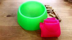 COMEDEROS PLEGABLES para viajar  disponible en rosa y verde fluor en la tienda online  #comedero #perros #mascotas #viajar #fluor #verano Pink, Pet Dogs, Traveling, Budget, Store, Green