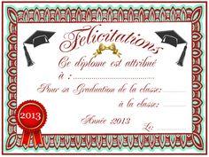 DIPLOME_5 Teaching French, Student Gifts, Certificate, Alphabet, Kindergarten, Graduation, Dire, Recherche Google, Badges