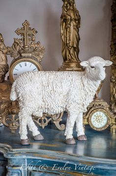 OMG Lg Vintage Sheep Statue Creche Nativity by edithandevelyn
