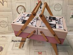 """Ancienne Petite Travailleuse """"Le Rose & Le Noir"""" N°32 Ancienne Travailleuse en bois ,boite à maquillage.. : Boîtes, coffrets par marie-kartone"""