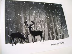 Penny Black Snowy Grove Holiday Snippets Impression Obsession Small Deer