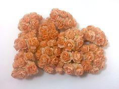 50 PCS ORANGE MULBERRY PAPER ROSES FLOWERS HANDMADE LOVE CARD WEDDING DOLLS 15mm #handmade