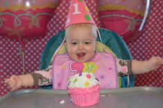 Hang a piece of fabric behind the high chair as a backdrop for birthday party pics.
