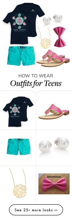 """""""Casual preppy ❤️ simply southern, jack Rogers, monogram"""" by amiller21 on Polyvore"""