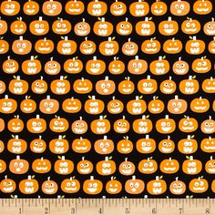 Riley Blake Halloween Magic Glow in the Dark Pumpkins Black from @fabricdotcom  Designed by Bella Blvd. for Riley Blake, this cotton print is perfect for quilting, apparel and home decor accents. Colors include orange, white, green, and black.