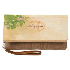 Monogrammed pink roses on sunny Mediterranean wall fold over Clutch